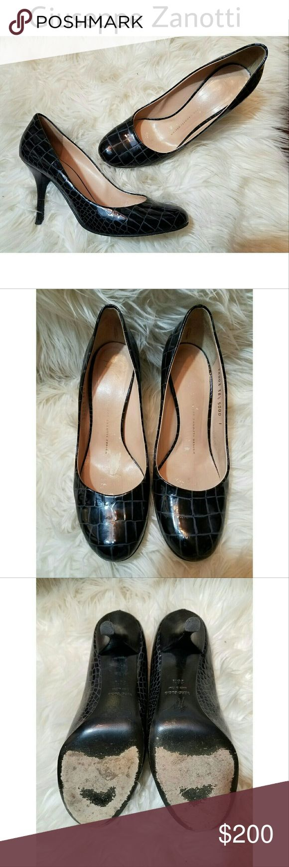 GIUSEPPE ZANOTTI Patent Leather Alligator Pumps Amazing, gorgeous quality! GIUSEPPE ZANOTTI DESIGN Black Patent Leather Alligator Pumps / Heels. Gorgeous condition! Any wear noted in photos.  Italian made Designer Giuseppe Zanotti   Size 38 1/2 Giuseppe Zanotti Shoes Heels