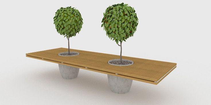 Banca de madera apoyada en macetas de concreto for Macetas de cemento