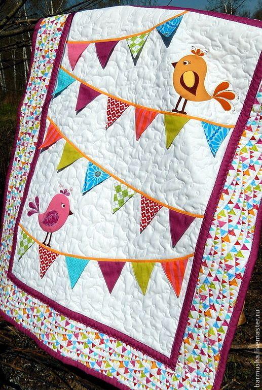 """Купить Детское лоскутное одеяло (покрывало) """"Отличный денёк!"""" - лоскутное покрывало, лоскутное одеяло"""
