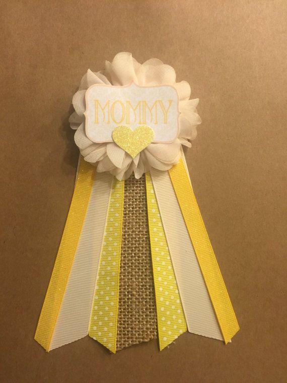 Amarillo crema bebé ducha Pin Mami a ser pin flor cinta Pin