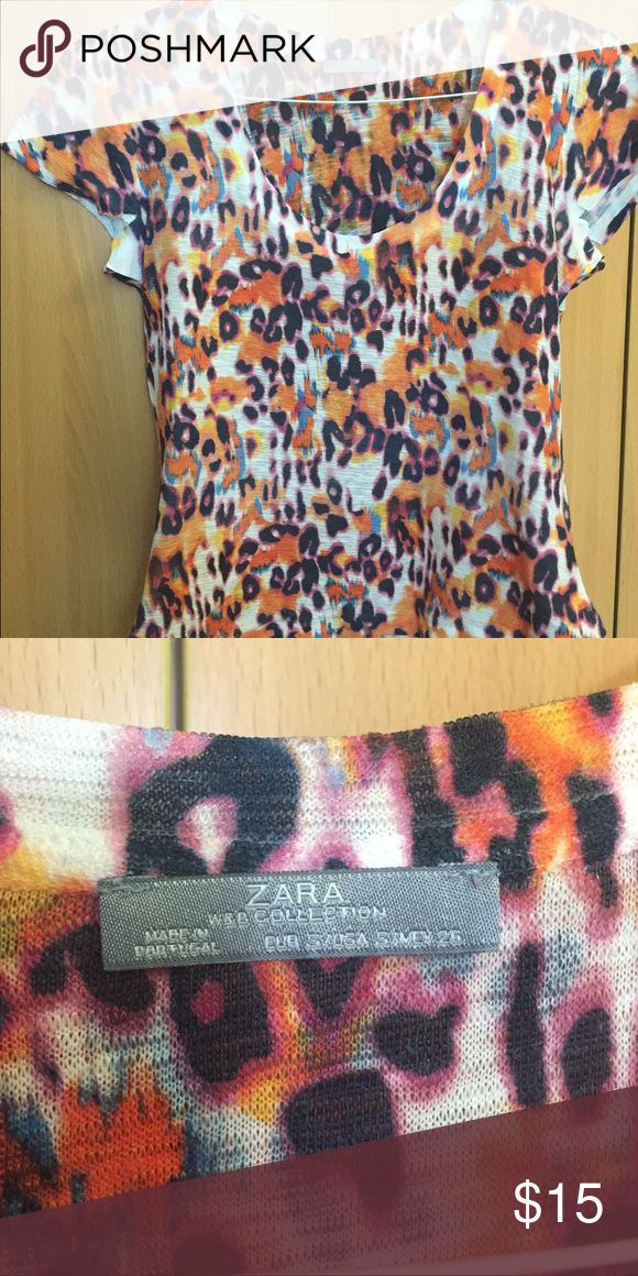 "Zara tshirt Size Small. Fits me well with a tiny bit of room- im 5'1"" and 118lb. Stops at hipa Zara Tops"