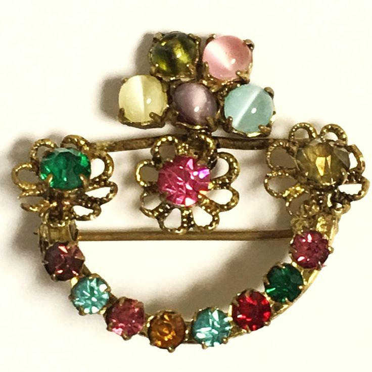 VTG - CZECH Rhinestone & Gemstone  BROOCH PIN ~ SIGNED ~ Gold Wash #MADEINCZECHOSLOVAKIA