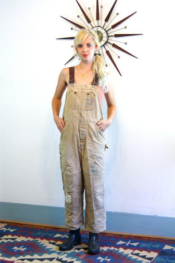 Vintage Womens CARHARTT Overalls Tan Brown Duck Bib Elastic Suspenders Distressed