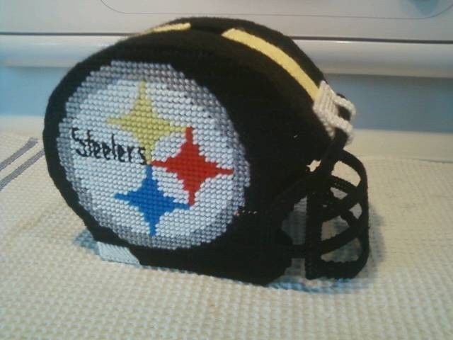 Handmade Plastic Canvas Pittsburgh Steeler Helmet Tissue Box