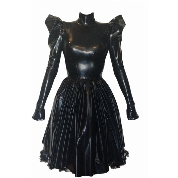 Evil Queen Dress Jane Doe Latex Knee Length Rubber Long Sleeve Gown ($478) ❤ liked on Polyvore