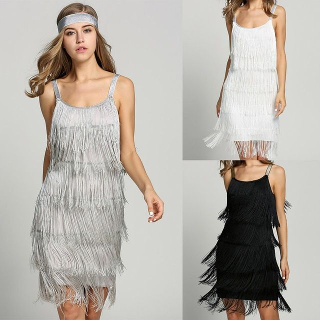 Limited Offer $17.95, Buy 2017 Straps Summer Gatsby Women'S Size Clothes Glam Women Costume Long Clothing Party Tassels Flapper Beach Dresses Fringe Dress