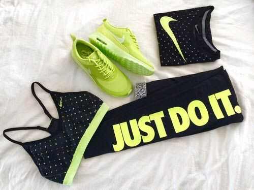 Black and Lime Green Nike Workout Outfit