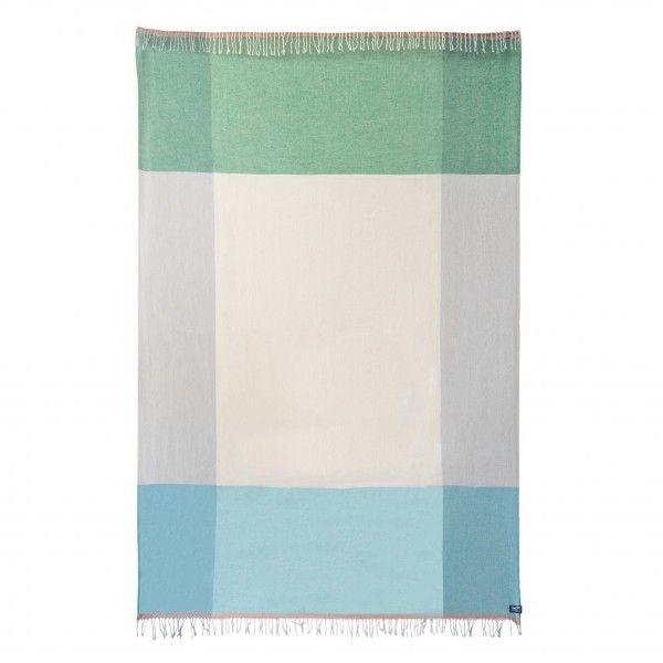 Cross Design Cotton & Wool throw in Green and Blue Mint, $249.00, Waverley Mills
