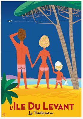 Vintage Travel Poster - l'Il;e du Levant - La famille tout nu - par Monsieur.Z.