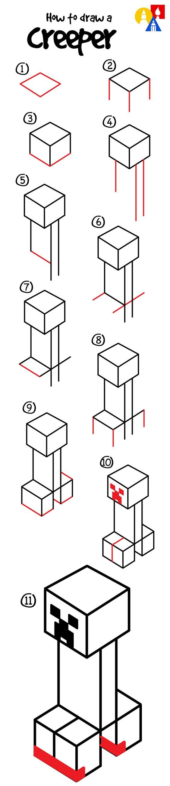 How to draw a creeper from Minecraft!: