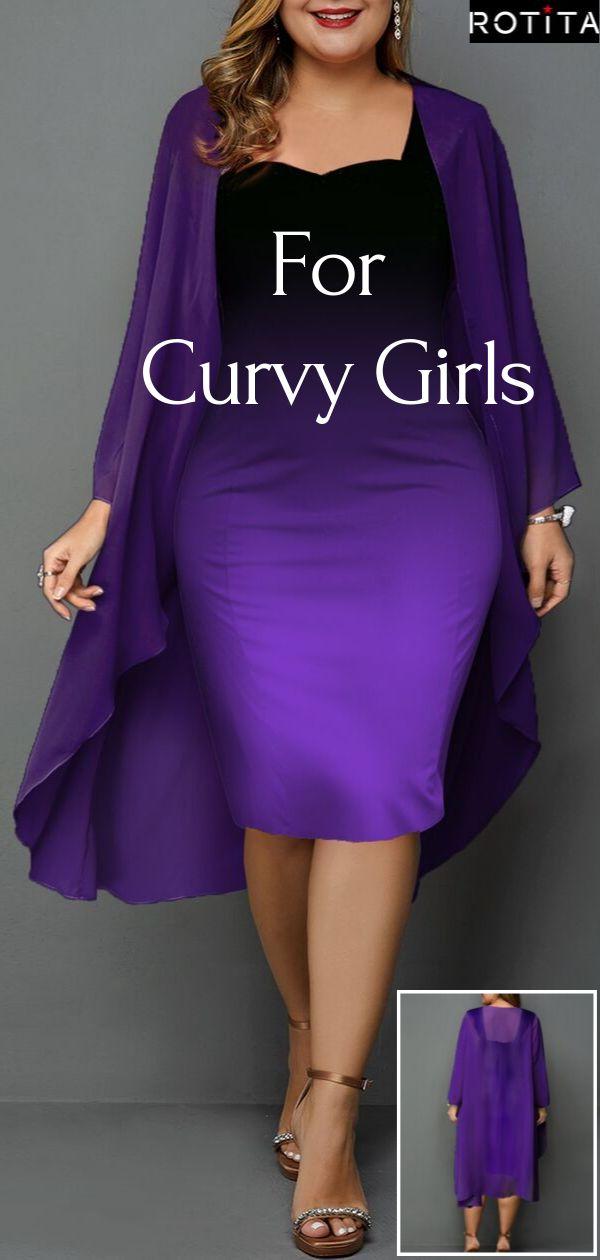 Plus Size Chiffon Cardigan and Gradient Sheath Dress 9