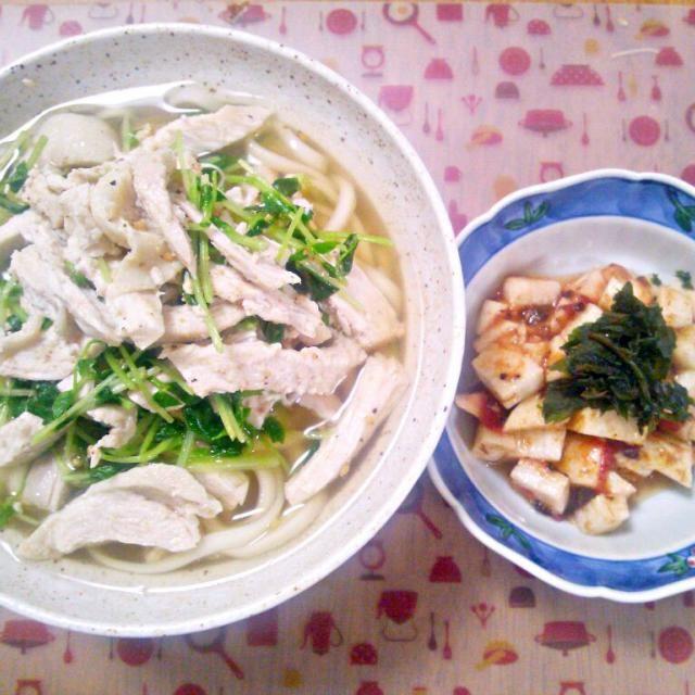 体調的にさっぱり目でとのリクエストだったのでうどん~ 鶏の茹で汁に鶏ガラスープの素を入れたスープ~しょうが入れても美味しそう! - 11件のもぐもぐ - 4月23 日 さっぱりうどん 長芋の梅かつお和え by sakuraimoko