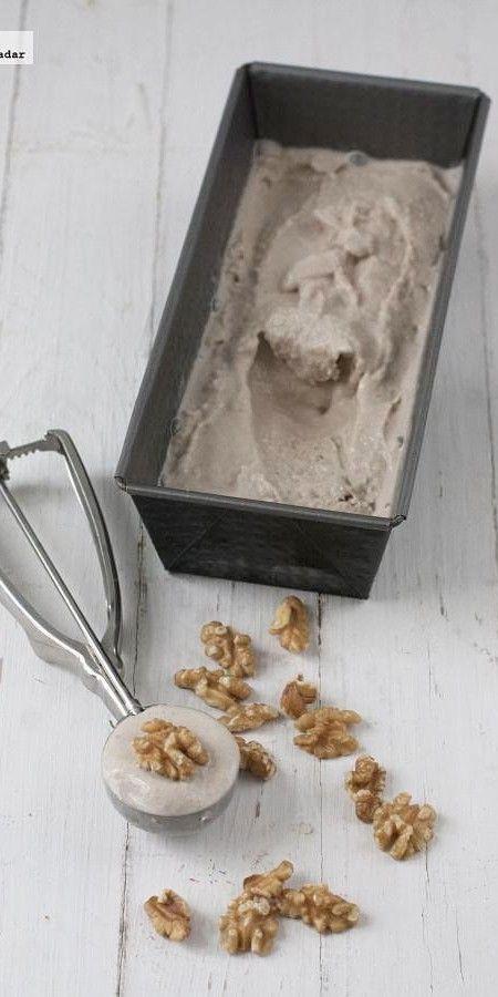Receta de helado de plátano con nueces