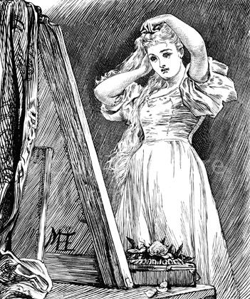 All Hallows Eve. Victorian picture of an All Hallows Eve (October 31) custom: a young woman looks longingly in a mirror in the hope of seeing the man she will marry. Download high quality jpeg for just £5. Perfect for framing, logos, letterheads, and greetings cards.