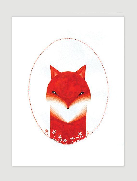 Fox original watercolor illustration, red nursery art, animal portrait, kids wall decor  by VApinx