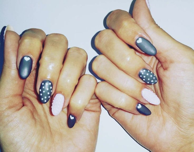 #sweet #lovely #nails #pink #grey #hearts