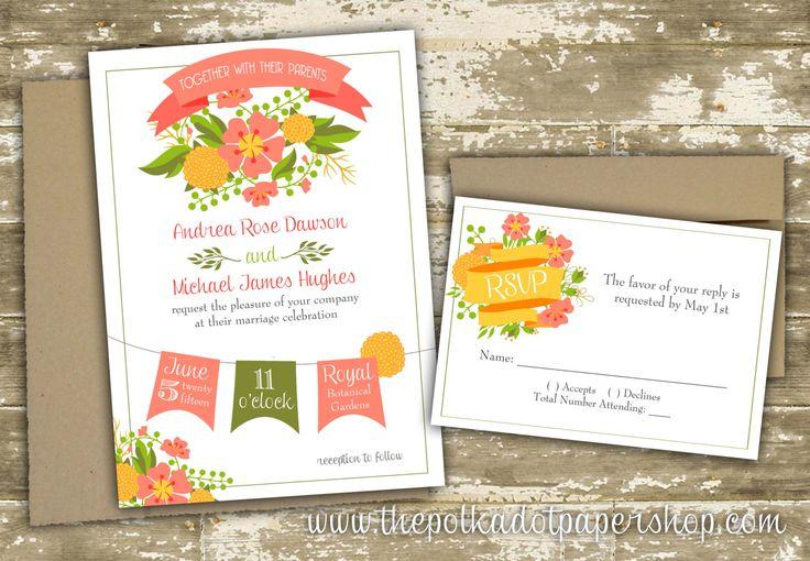 Shabby Chic Botanical Wedding Invitation Suite by PolkaDotInvites