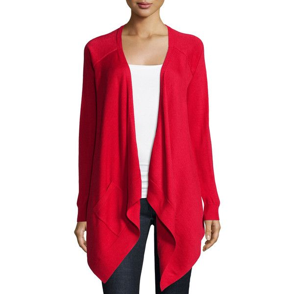 Michael Kors Collection Long-Sleeve Drape-Front Cardigan (4.835 HRK) ❤ liked on Polyvore featuring tops, cardigans, scarlet, red top, drape cardigan, drapey cardigan, red cardigan and michael kors tops