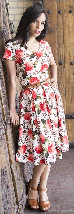 Ivy Dress/ Modest Dresses/ Red Floral Print Dress/  www.sierrabrooke.com