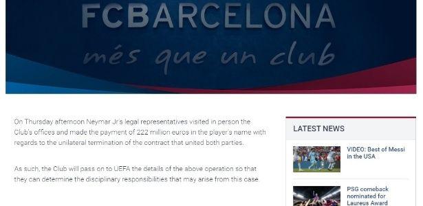 Barcelona recebe pagamento da multa e anuncia rescisão com Neymar