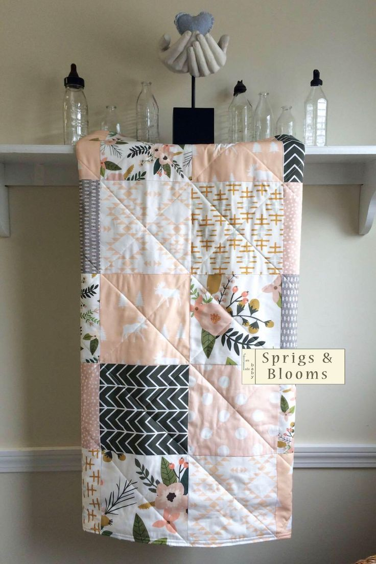 Floral Baby Quilt, Girl Baby Blanket, Minky Back, Pastel Quilt, Pink Peach Grey Quilt, Modern Crib Quilt, Crib Bedding, Blush Sprigs Blooms by FernLeslieBaby on Etsy https://www.etsy.com/listing/452048620/floral-baby-quilt-girl-baby-blanket
