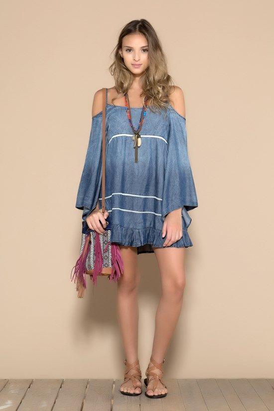Vestido Jeans Com Renda No Busto - 02013174 | Oh, Boy! - ohboy