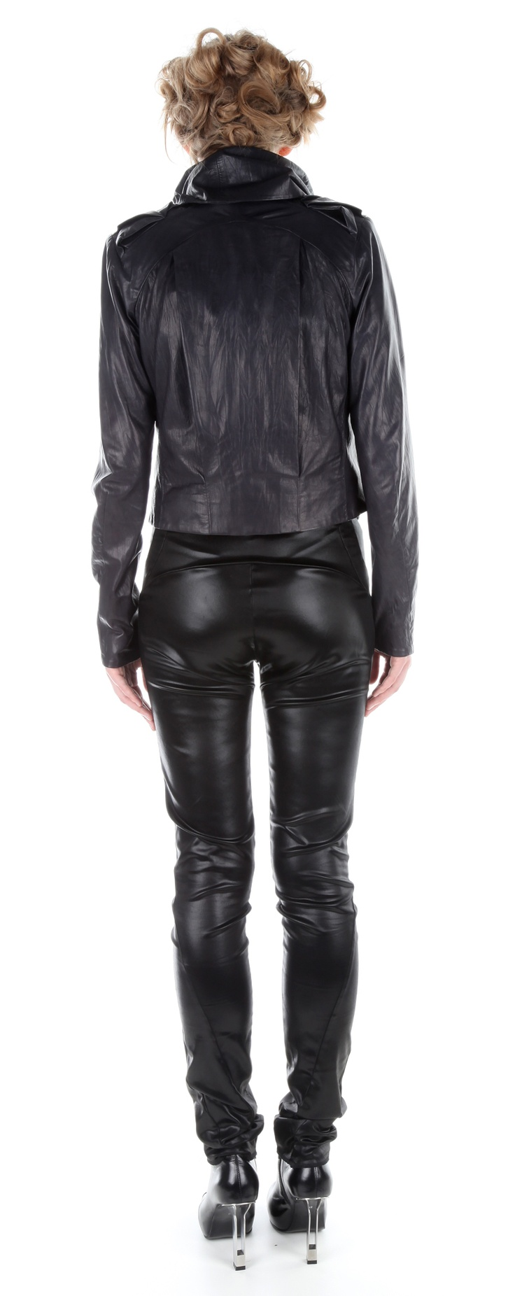 Back view: Jacket ( leather), jumpsuit ( silk satin), shoes ( leather, stainless-steel heel)