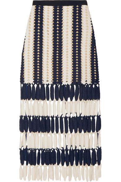 Self-Portrait | Striped crochet-knit midi skirt | NET-A-PORTER.COM