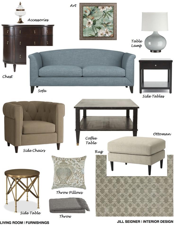 Bolingbrook IL Online Design Project Living Room Furnishings Concept Board JSInteriorDesBlogspot