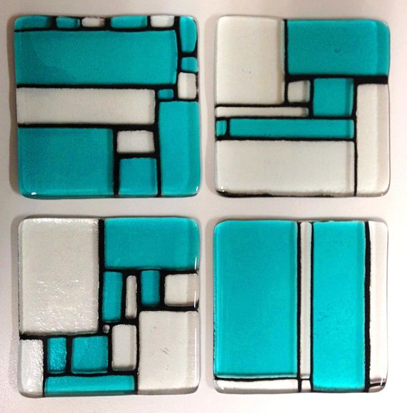 set of four turquoise art glass coaster set of 4 set of 4