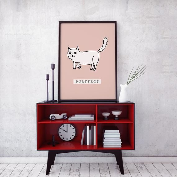 Cute Purffect Poster Mailed Prints Hypesheriff Cat Love Print Cat Print Cat Poster Framed Poster Framed Wall Art Framed Print Poster Frame Cat Posters Framed Wall Art