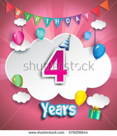 4th Anniversary Celebration Design, with clouds and balloons. using Paper Art Design Style, Vector template elements for your, four years birthday celebration party.