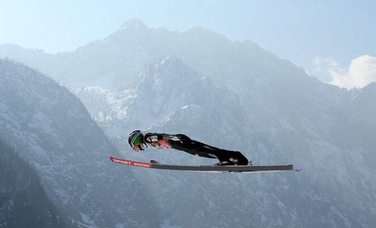Slovenia's Jurij Tepes in action during the training session for the Large Hill HS 225 individual competition of the Ski Jumping World Cup in Planica, Slovenia