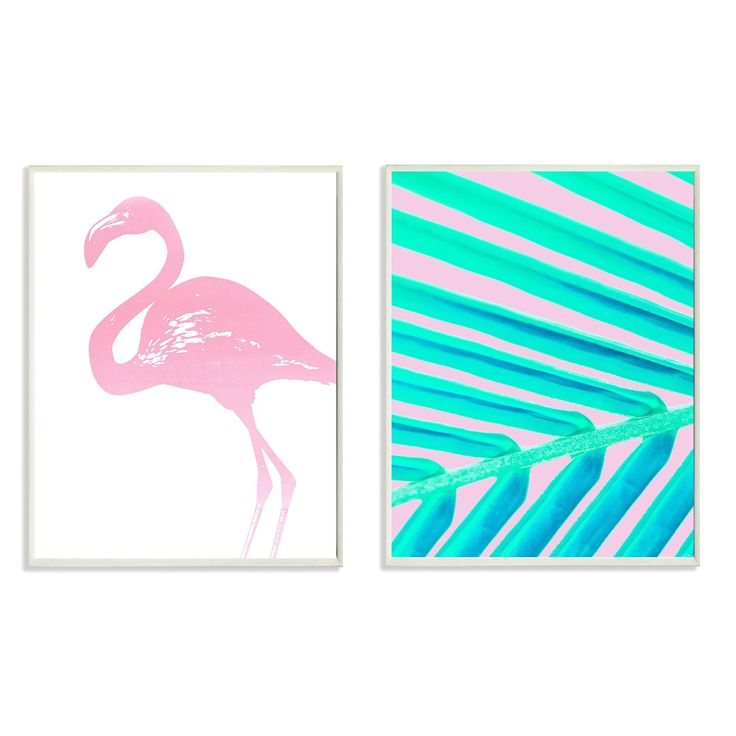 Stupell Decor Flamingo Palm Leaf Wall Plaque - Set of 2