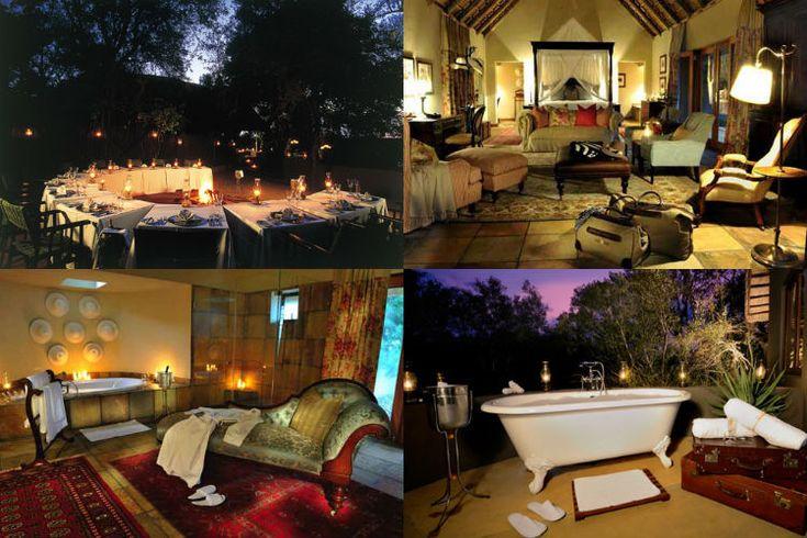 Acima, o charmoso jantar à luz de lamparina e ao ar livre e a suíte Lourenço Marquês; abaixo, duas opções de banho: o da luxuosa acomodação presidencial Ivory e ao ar livre