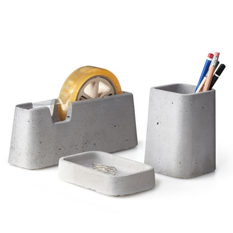 concrete desk accessories: Office, Desk Accessories, Desks, Design