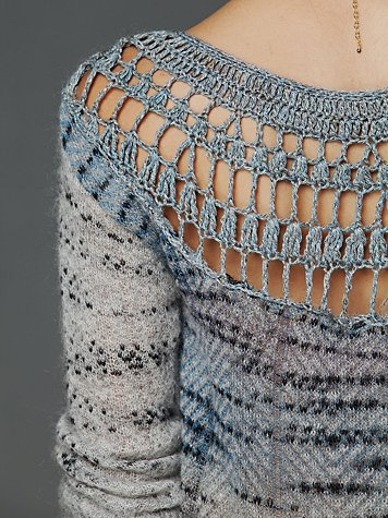 Not a pattern...but interesting idea. Cut a boring summer T-shirt and fill it in with crochet.