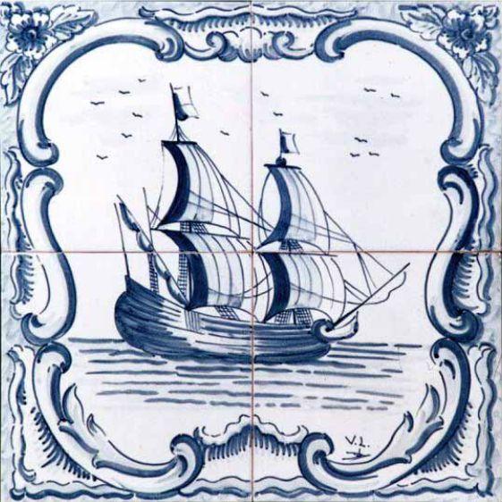 #azulejos #bateau (réf: cerb_130_3_1) #mer #carrelage #tile #boat #sea #decoration #bleu #blue