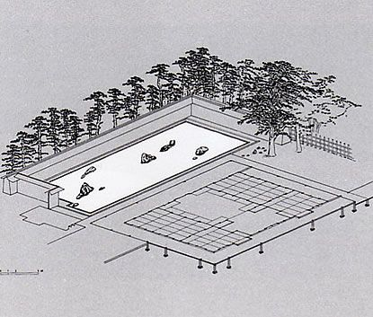 Drawing of the layout of the Ryoan-ji garden and the hojo.