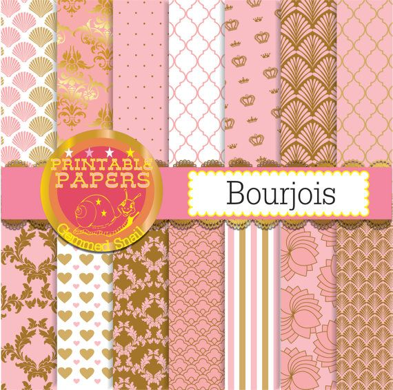 Pink and gold digital paper, pink and gold wedding backgrounds 14 papers, pink background
