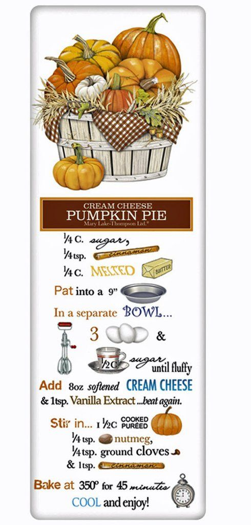 Cream Cheese Pumpkin Pie Recipe 100% Cotton Flour Sack Dish Towel Tea Towel