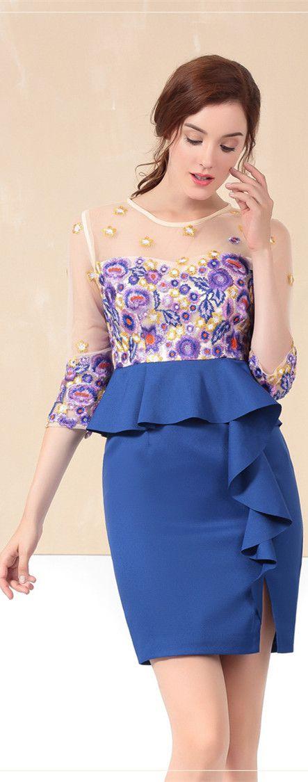 Blue Embroidered Illusion Peplum Dress