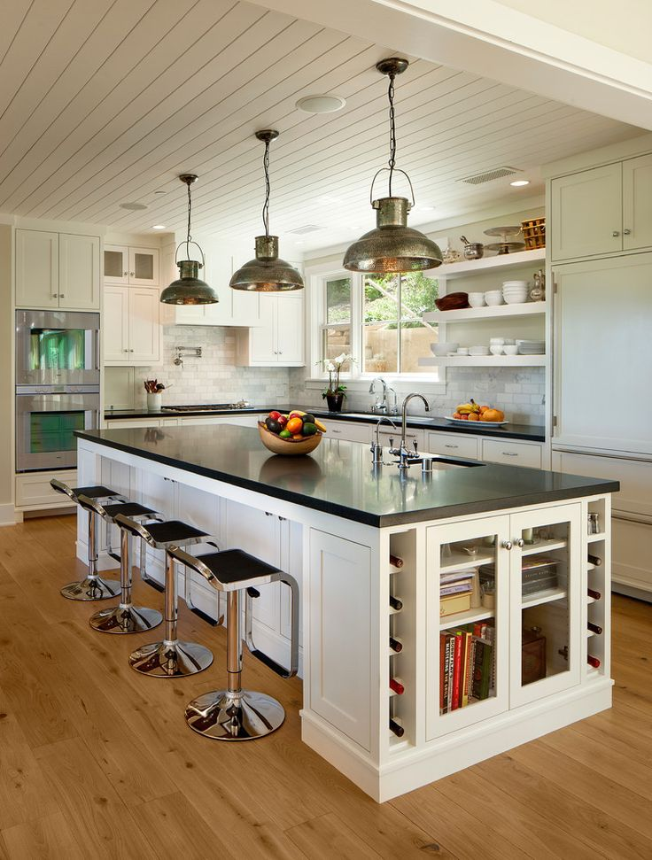 open kitchen with traditional kitchen design american style with black countertops