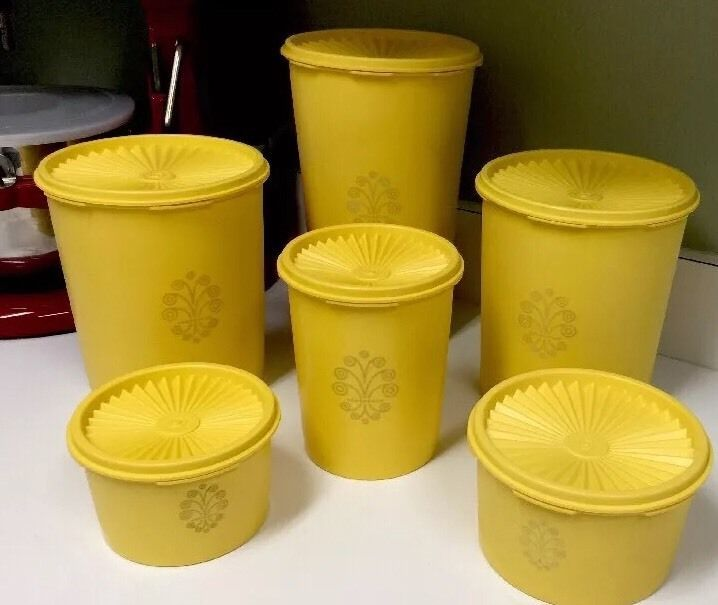 Vintage 70's Tupperware Yellow Servalier Canisters Set 6 Canister with Lids   eBay