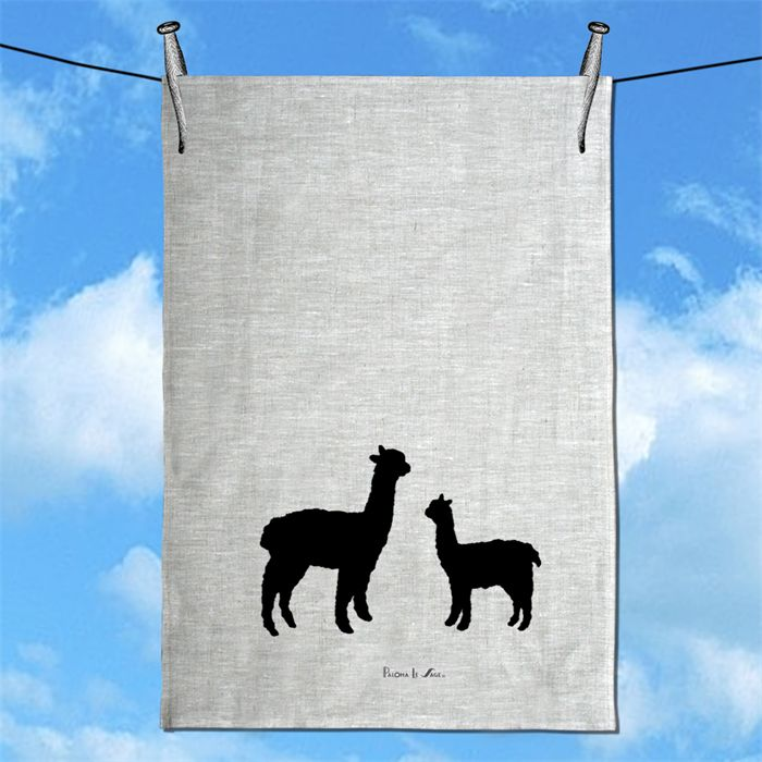 Handprinted Alpaca & Baby  100% Natural Linen Tea Towel free shipping in Aust