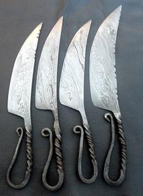 Mughals Handmade Damascus Outdoor Knives SET OF 4