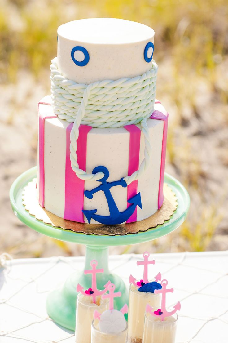 girls nautical birthday party in shades of pink navy and mint with oriental trading + modern moments designs