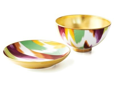 Missoni Home plate and bowl with 24K gold.