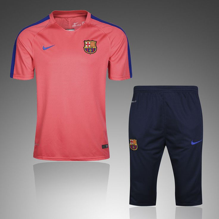 Barcelona 2016/17 Pink Short Sleeve Men Tracksuit Slim Fit