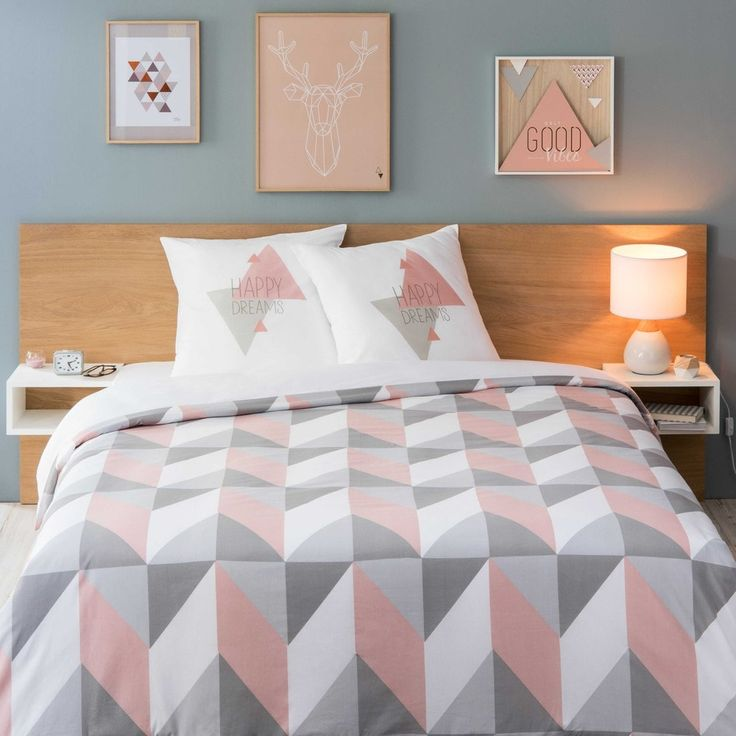 Pink and grey bedding duvet set | URBAN SOFT graphic multicoloured bed linen 240 x 220 cm | Maisons du Monde